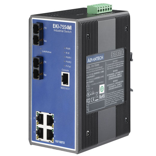 EKI-7554MI Managed Fiber Optic Ethernet Switch