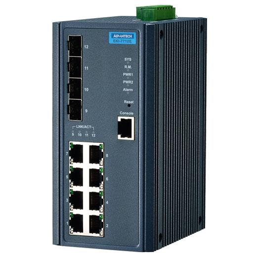 EKI-7712E-4F Managed Fiber Optic Gigabit Switch