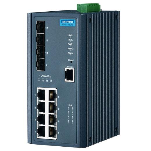 EKI-7712G-4FP Managed Fiber Optic Gigabit Switch
