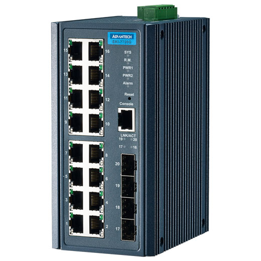 EKI-7720G-4F Managed Fiber Optic Gigabit Switch